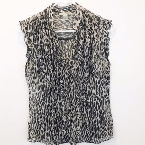 Banana Republic Silk Animal Print Ruffled Blouse